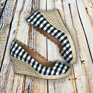 J. Crew Gingham Espadrille Wedge